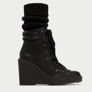 Zara Lace Up Leather Wedge Stud  Combat Boots